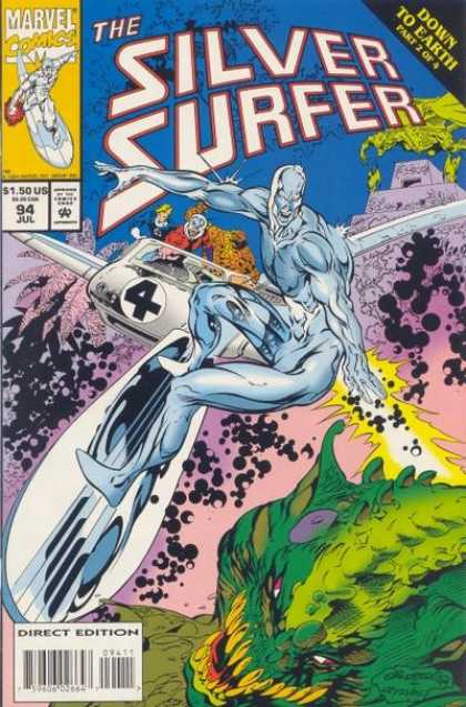 Silver Surfer (1987) 94 - The Silver Surfer - Down To Earth Part 2 Of 4 - Surfboard - Marvel Comics - Direct Edition