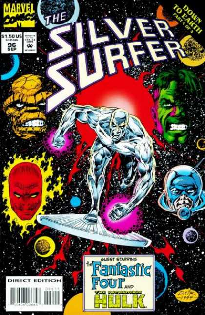 Silver Surfer (1987) 96 - Silver Surfer - Fantastic Four - Incredible Hulk - The Thing - Superhero - Michael Bair