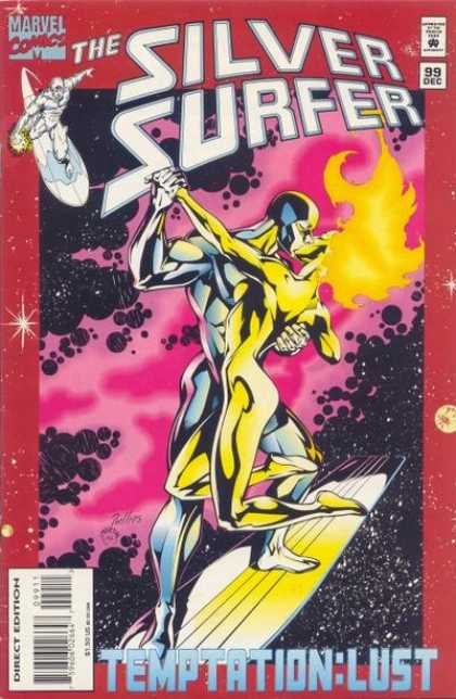 Silver Surfer (1987) 99 - Space - Romance - Couple - Surfboard - Love