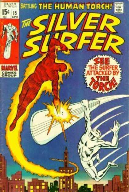 Silver Surfer 15 - The Human Torch - Comics Code - Marvel Comics Group - See The Surfer - City - Joe Sinnott