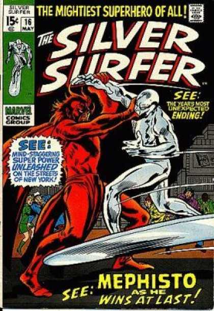 Silver Surfer 16 - Comics Code - The Mightiest Superhero Of All - Marvel - The Years Most Unexpected Ending - Battle - John Buscema