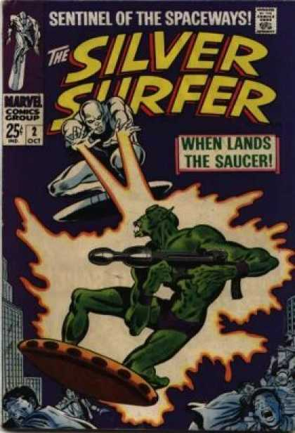 Silver Surfer 2 - Approved By The Comics Code Authority - Marvel Comics Group - 2 Oct - When Lands The Saucer - Fire - Jean Giraud, John Buscema