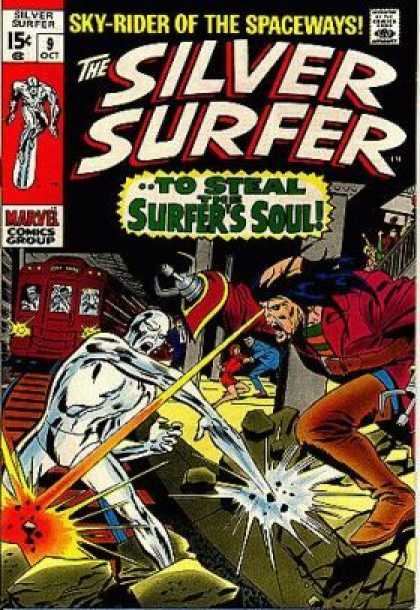 Silver Surfer 9 - Metal Pincer Arms - Laser Beam - Train - Bystanders - Destruction - John Buscema