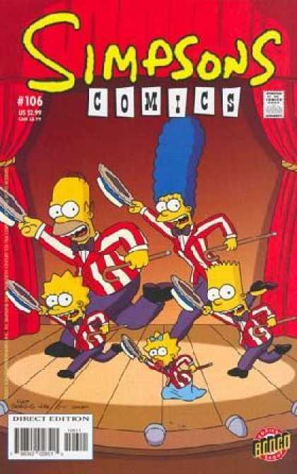 Simpsons Comics 106 - Marge - Homer - Red Curtains - Showtunes Outfits - Canes