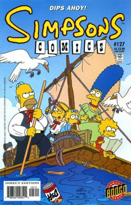 Simpsons Comics 127 - Dips Ahoy - On A Raft - Stranded At Sea - Family Isolated - Satire