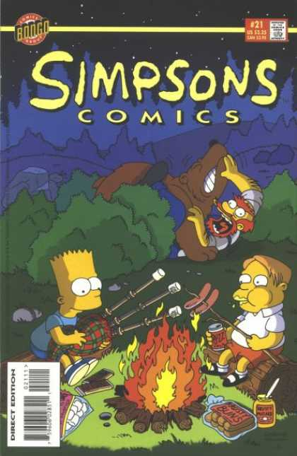 Simpsons Comics 21 - Grounskeeper Willie - Bart Simpson - Bagpipes - Campfire - Bear