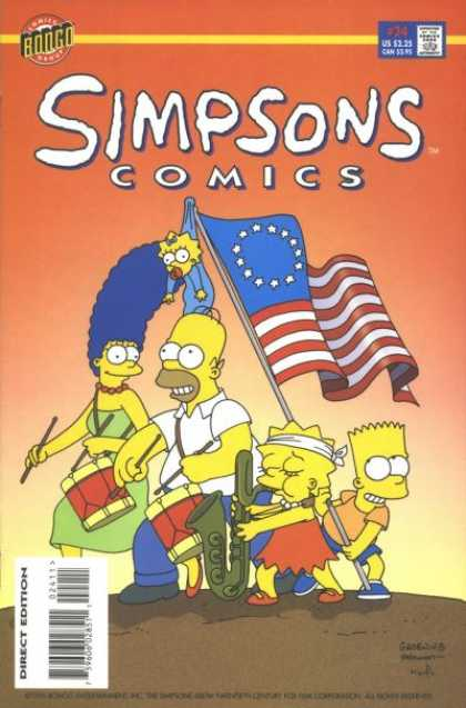 Simpsons Comics 24 - Saxophone - Tall Blue Hairdo - Drums And Drum Sticks - Flag On Pole - Maggie Hangs On Flag - Bill Morrison, Matt Groening