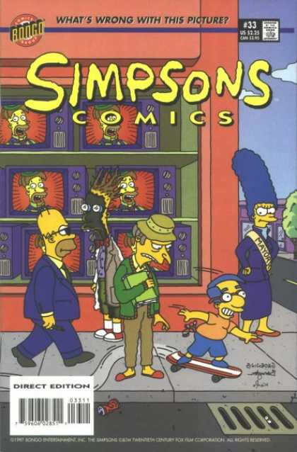Simpsons Comics 33 - Whats Wrong With This Picture - Red And White Skateboard - Tv Sets In Shop Window - Mayor Banner On Marge - Green Sweater