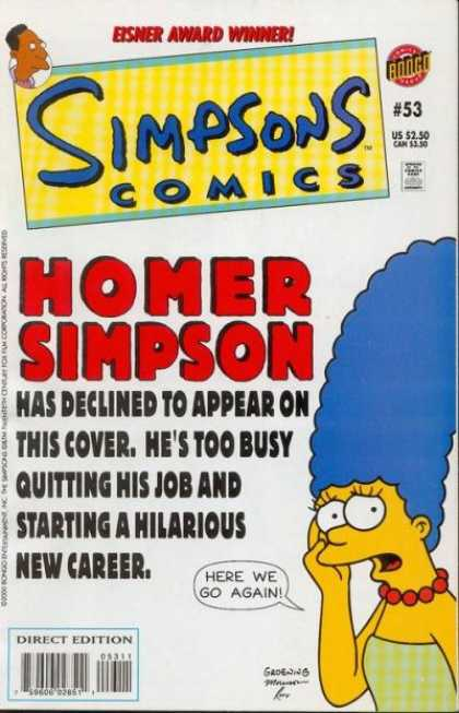Simpsons Comics 53 - Marge Simpson - Homer Simpson - Eisner Award Winner - Here We Go Again - New Career