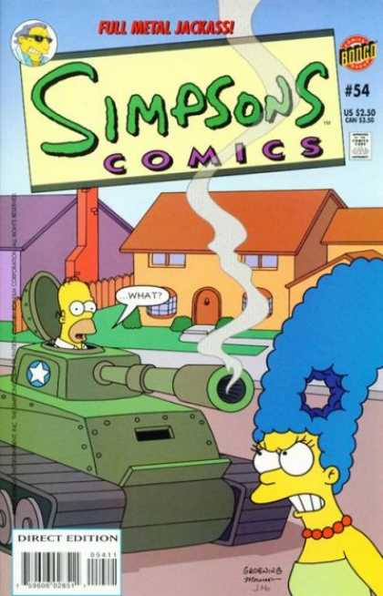 Simpsons Comics 54 - Full Metal Jackass - Homer - Marge - Tank - Hole In Hair