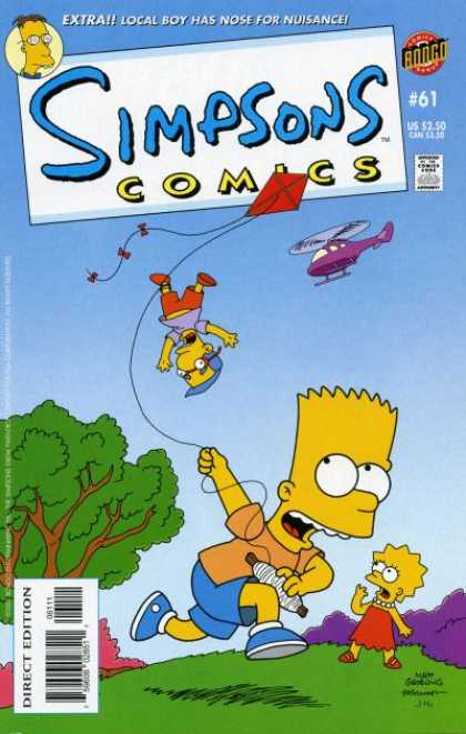 Simpsons Comics 61 - Extra Local Boy Has Nose For Nuisance - Helicopter - Kite - Park - Grass