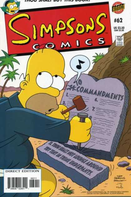 Simpsons Comics 62 - Bart - 10 Commandments - Singing - Nail - Underpants