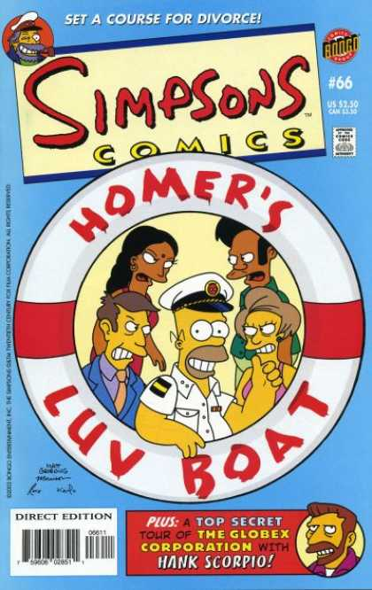Simpsons Comics 66 - Set A Course For Divorce - Captain - Bongo - Approved By The Comics Code - Homers Luv Boat