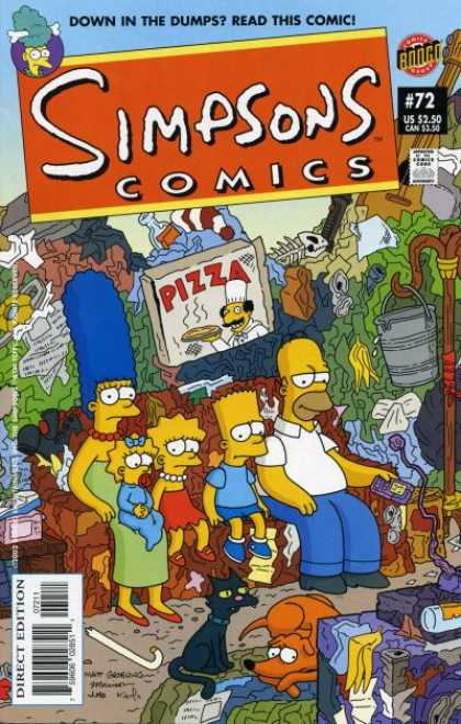 Simpsons Comics 72 - Down In The Dumps - Pizza - Bucket - Hat Stand - Fish Bones