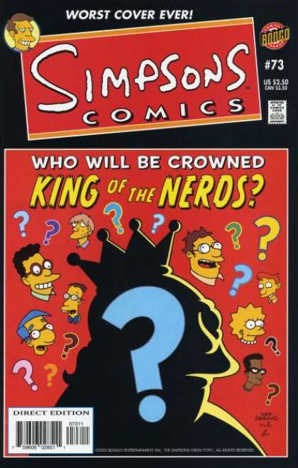 Simpsons Comics 73 - Worst Cover Ever - Approved By The Comics Code Authority - Bongo - Direct Edition - King Of The Neros