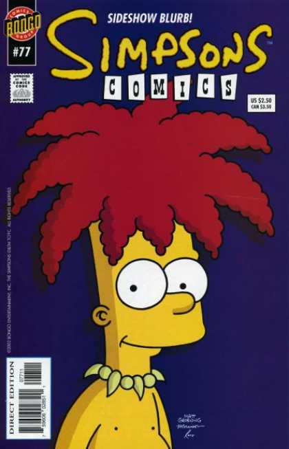 Simpsons Comics 77 - Sideshow Bob - Bongo - Bart - Big Hair - Blurb