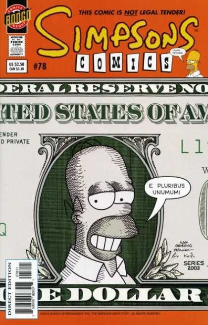 Simpsons Comics 78 - Homer Simpson On Money - Homer Simpson As The President - Homer Simpsons Face - Homer Simpson Dollar Bill - Homer Simpson Portrait