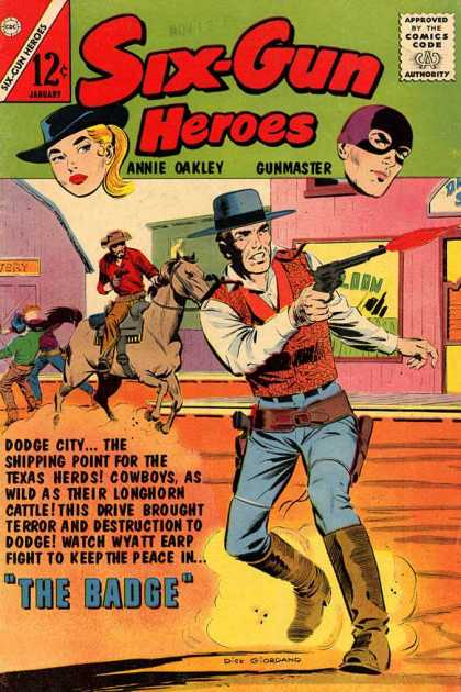 Six-Gun Heroes 72 - Comics Code Authority - 12 Cents - Annie Oakley - Gunmaster - Cowboy Hat