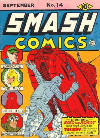 Smash Comics 14 - Espionage - The Ray - Bozo The Robot - Wings Windall - Hugh Hazzard