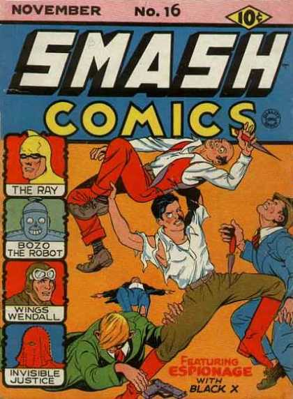 Smash Comics 16 - The Ray - Bozo The Robot - Wings Wendall - Invisible Justice - Black X