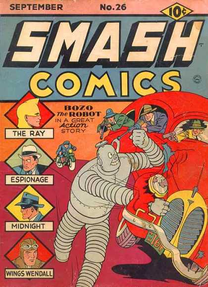 Smash Comics 26 - Bozo The Robot - Tommy Gun - Motorcycle - Wings Wendall - The Ray