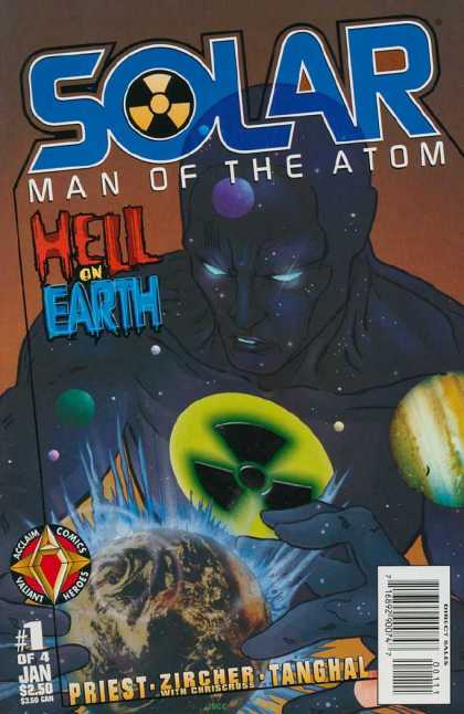 Solar: Hell on Earth 1 - Acclaim Comics - Valiant Heroes - Fan Symbol - Dark Figure - Chriscross