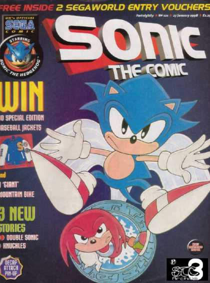 Sonic the Comic 121 - Sega Comic - Free Inside - Win - Jacket - Decap Attach Pin-up