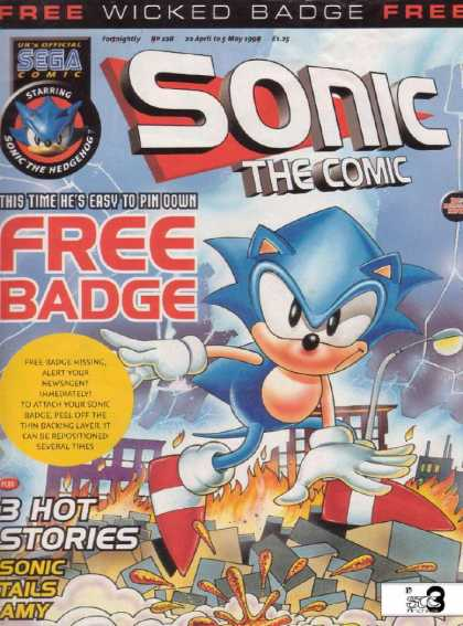 Sonic the Comic 128 - Free Badge - 3 Hot Stories - Free Wicked Badge - Tails - Amy