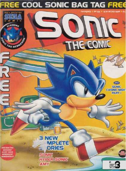 Sonic the Comic 134 - Sega Comic - Cool Sonic Bag Tag - Casino Night Part 1 - Beach - 3 Complete Stories