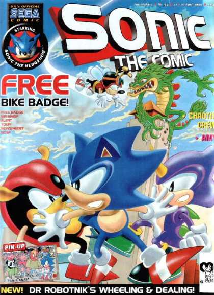 Sonic the Comic 153 - Sega - Sonic The Comic - Free Bike Badge - Sonic The Hedgehog - Dr Robotniks Wheeling And Dealing
