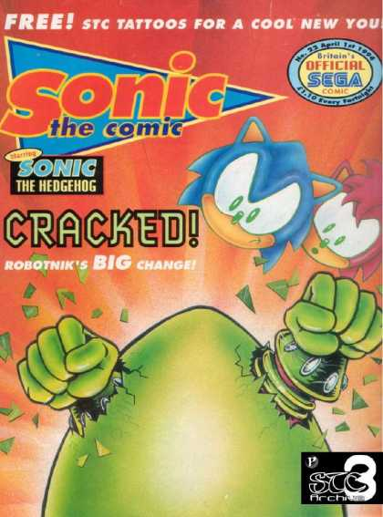 Sonic the Comic 22 - Sega Comic - Cracked - The Hedgehog - Free Stc Tattos For A Cool New You - No22 April