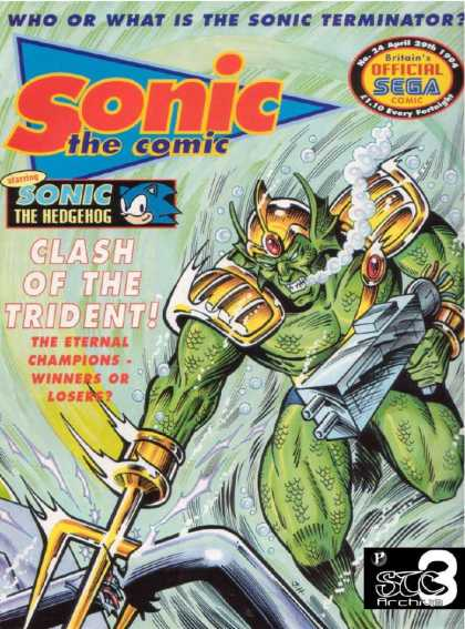 Sonic the Comic 24 - Hedgehog - Sega - Terminator - Clash Of The Trident - Eternal Champions
