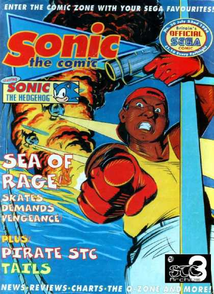 Sonic the Comic 30 - Britains Official Sega Comic - Enter The Comic Zone With Your Sega Favourites - Sea Of Rage - Skates Demands Vengeance - Pirates Stc Tails