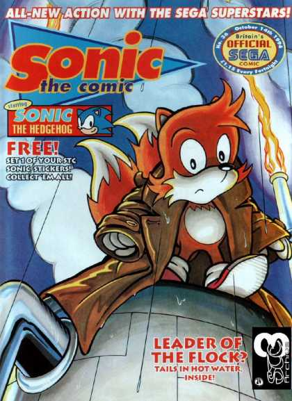 Sonic the Comic 36 - Leaders Of The Flock - Hot Water - Flame - Trench Coat - Hot Water Heater