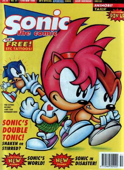 Sonic the Comic 51 - Shinob Pin-up - Tails - Sonics Double Tonic - Sonic In Disaster - Shaken Or Stirred