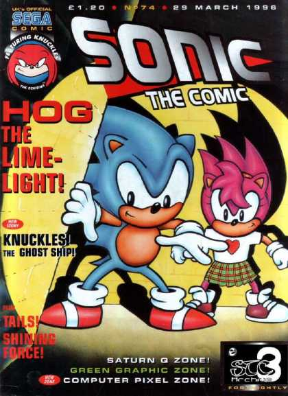 Sonic the Comic 74 - Hog The Limelight - Knuckles - Ghost Ship - Sega - Saturn