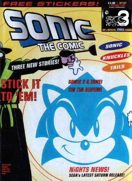 Sonic the Comic 87 - Free Stickers - Knuckles - Tails - Segas Latest Saturn Release - Three New Stories