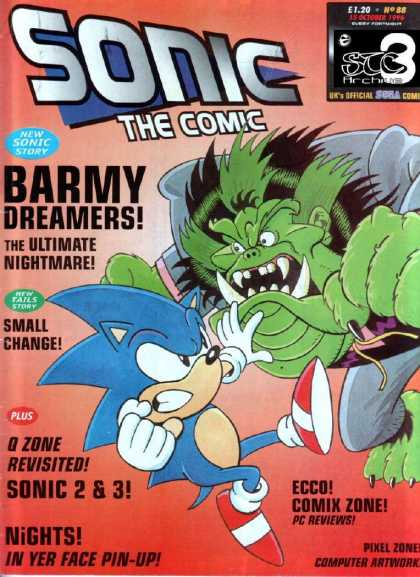 Sonic the Comic 88 - Barmy Dreamers - The Ultimate Nightmare - Tails - Small Change - Q Zone