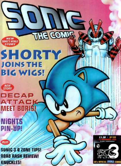 Sonic the Comic 90 - Shorty - Big Wigs - Meet Boris - Decap Attack - Nights Pin-up
