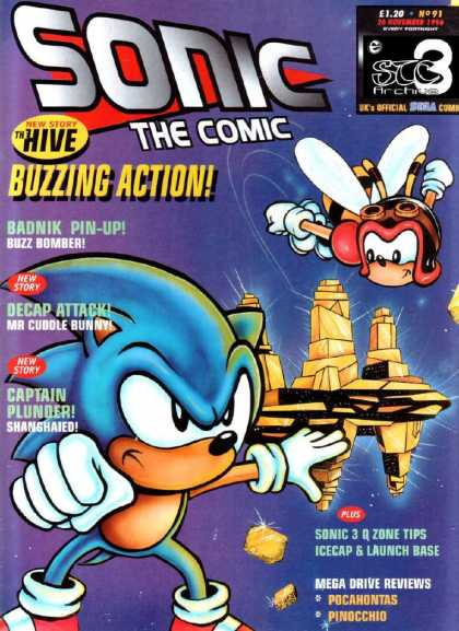 Sonic the Comic 91 - Hive - Buzzing Action - Decap Attack - Captain Plunder - Buzz Bomber