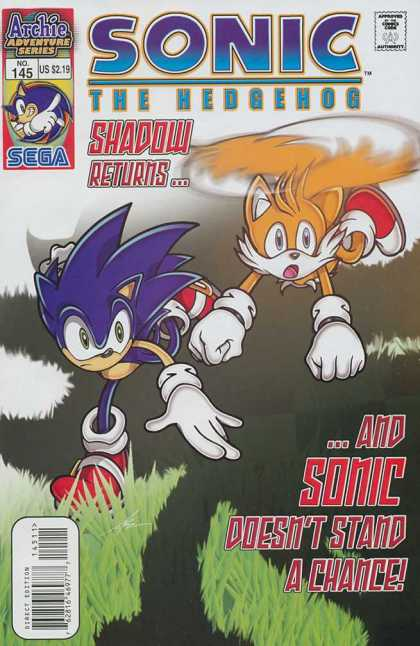 Sonic the Hedgehog 145 - Archie Adventure Series - Sega - Approved By The Comics Code - Shadow Returns - Grass