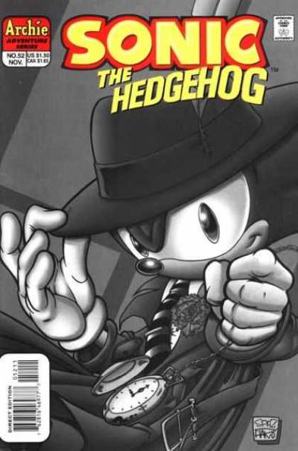 Sonic the Hedgehog 52 - Archie - Old Sonic - Black And White - Dick Tracy Hat - Pocket Watch
