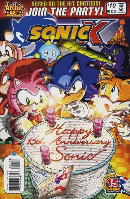 Sonic X 10 - Join The Party - Based On The Hit Cartoon - Happy 15th Anniversary Sonic - Archie 65th Anniversary - Us 225
