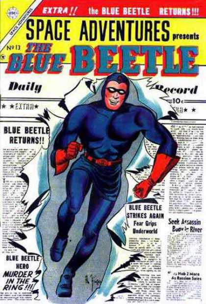 Space Adventures 13 - The Blue Beetle - Blue Beetle Returns - Newspaper - Headlines - Murder In The Ring