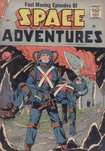 Space Adventures 24 - Fast Moving Episodes - Approved By The Comics Code - July - Battle - Hero