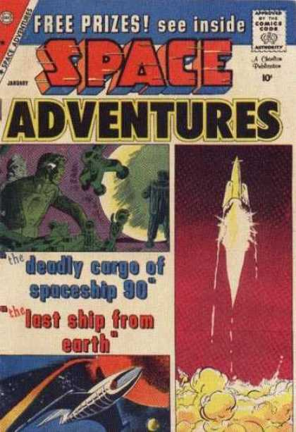 Space Adventures 32 - Aliens - Green Men - Rocket Ships - Planet - Space