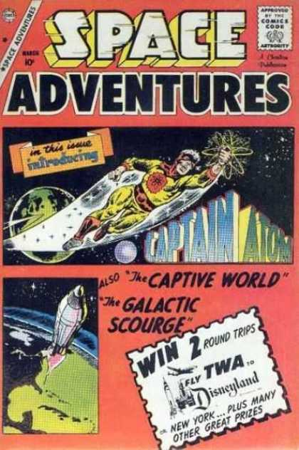 Space Adventures 33 - Captain Atom - Captive World - Galactic Scourge - Win 2 Round Trips - Rocket Lifting Off