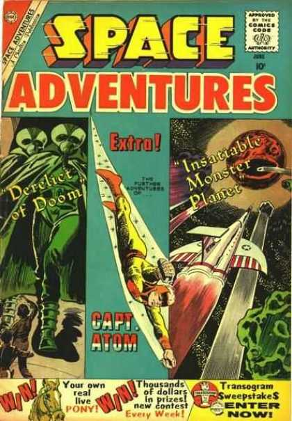 Space Adventures 34 - Outerspace - Aliens - Capt Atom - Derelict Of Doom - Insatiable Monster Planet
