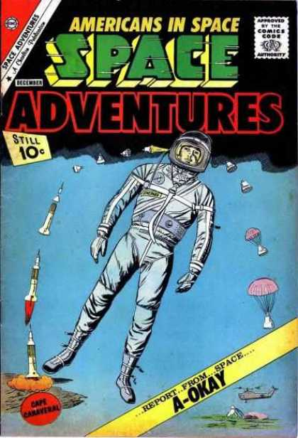Space Adventures 43 - Parachute - Bomb - Rocket - Sky - Space