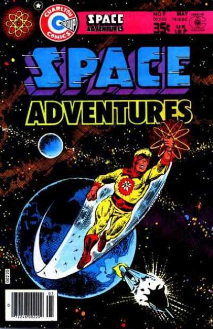 Space Adventures 68 - Charlton Comics - Blue Planet - Yellow Suit - Yellow Hair - Red Boots